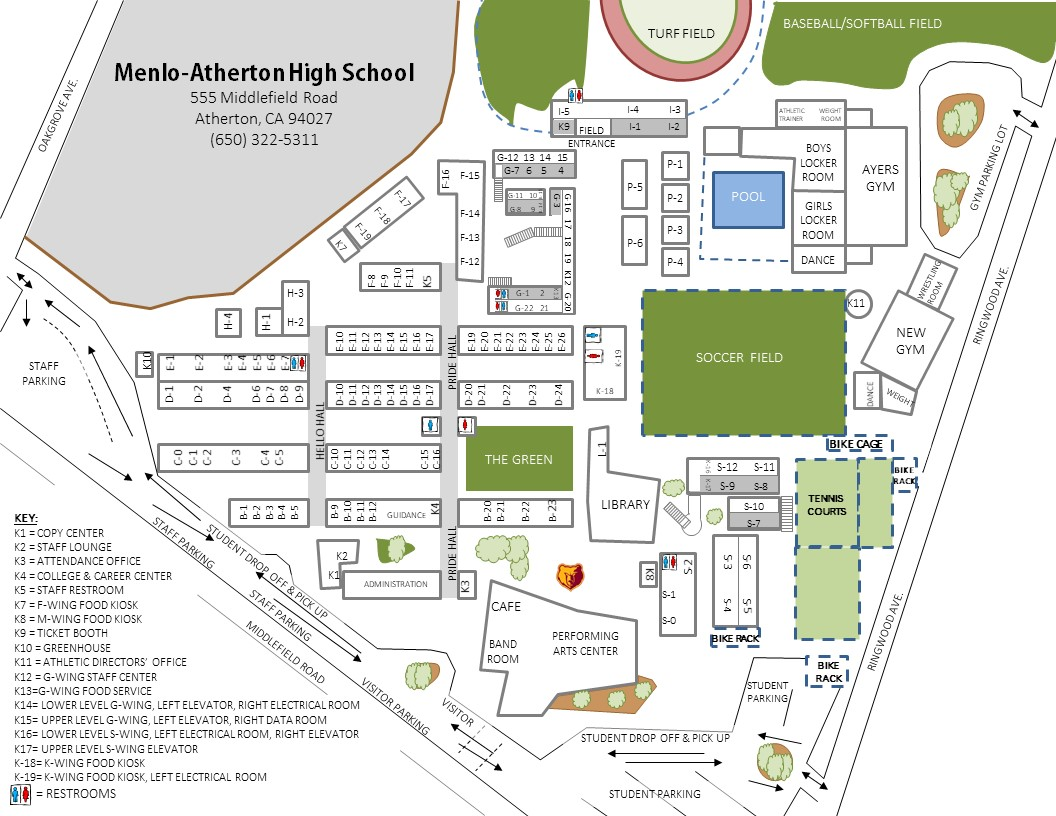 Independence High School Campus Map.Menlo Atherton High School Directions Campus Map